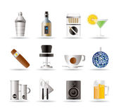 Night club, bar and drink icons — Stock Vector