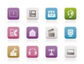 Telefono cellulare e computer icone — Vettoriale Stock