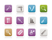 Cosmetic, make up and hairdressing icons — Stock Vector