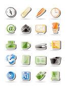 Jednoduché kancelářské nástroje ikony — Stock vektor