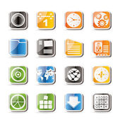 Simple Mobile Phone, Computer and Internet Icons — Stock Vector