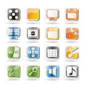 Telefon výkonnost, internet a kancelář ikony — Stock vektor