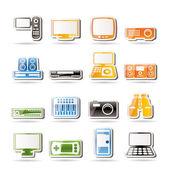 Sprzęt hi-tech prostych ikon — Wektor stockowy