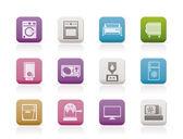 Hogar electrónica e iconos de equipo — Vector de stock