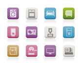 Home electronics and equipment icons — Stok Vektör