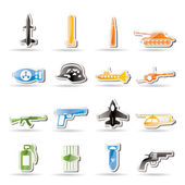 Simple weapon, arms and war icons — Stock Vector