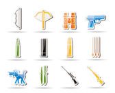 Hunting and arms Icons — Stock Vector