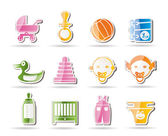Simple Child, Baby and Baby Online Shop Icons — Stock Vector