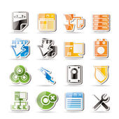 Simple Server Side Computer icons — Stock Vector