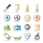 Eenvoudige medische thema pictogrammen en waarschuwingssignalen — Stockvector