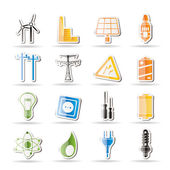 Simple Electricity, power and energy icons — Stock Vector