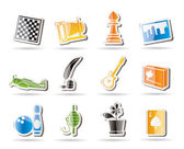 Simple Hobby, Leisure and Holiday Icons — Stock Vector