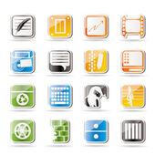 Icone semplici affari, ufficio e cellulare — Vettoriale Stock