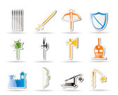 Simple medieval arms and objects icons — Stock Vector