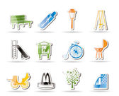 Park objects and signs icon — Stock Vector