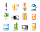 Simple Kitchen and home equipment icons — Stock Vector