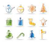 Beautiful Christmas And Winter Icons — Stock Vector