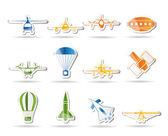 Uçak resimler ve simgeler farklı — Stok Vektör