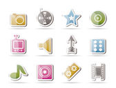 Entertainment and media Icons — Vettoriale Stock