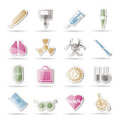 Collection of medical themed icons and warning-signs — Stock Vector