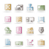 Bank, business, finance and office icons — Stock Vector