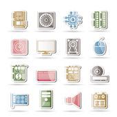 производительность и оборудование значки компьютеров — Cтоковый вектор