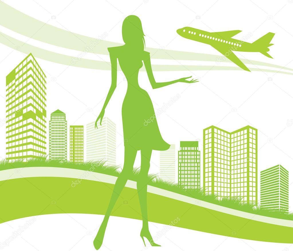 城市和机场背景-矢量图