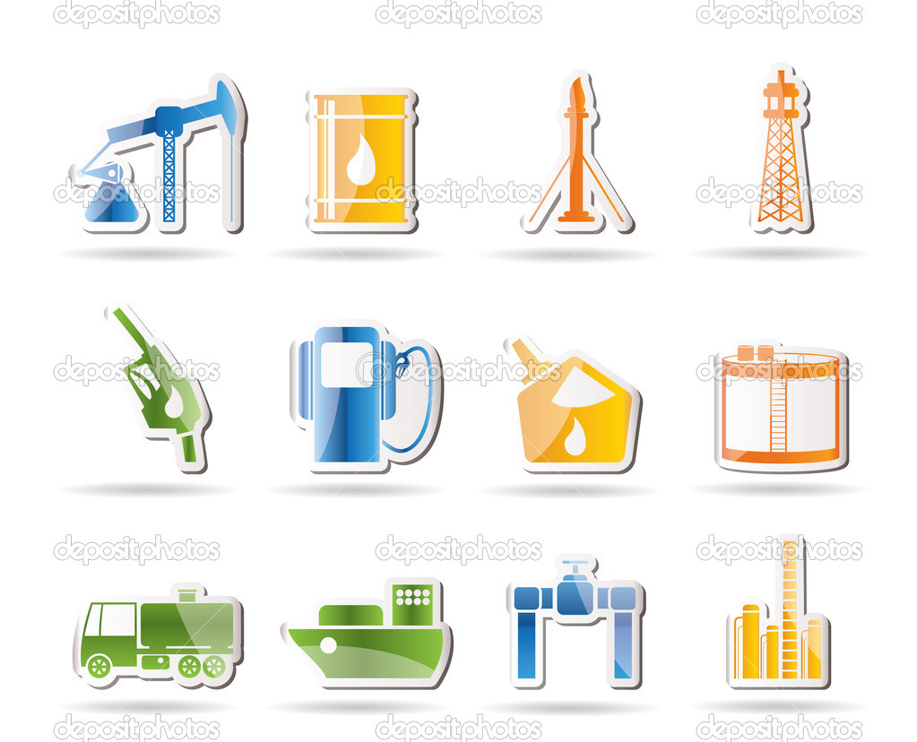Oil and petrol industry icons - vector icon set — Stock Vector #5065704