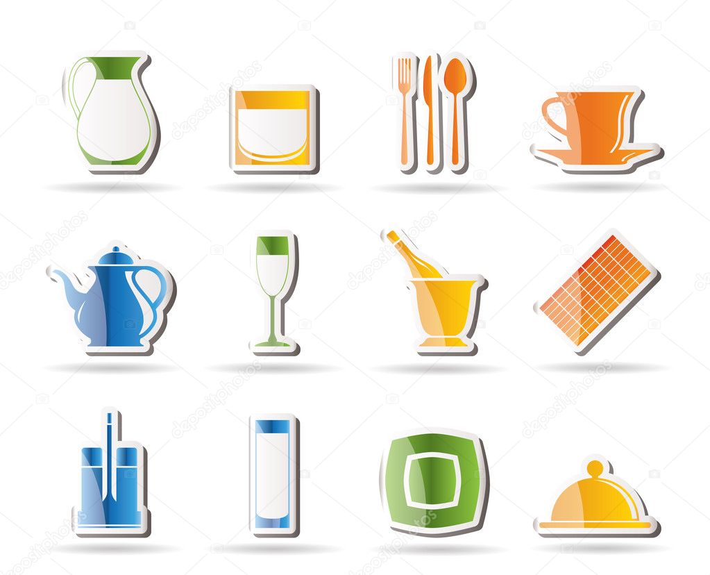 Restaurant, cafe, bar and night club icons - vector icon set — Image vectorielle #5065923