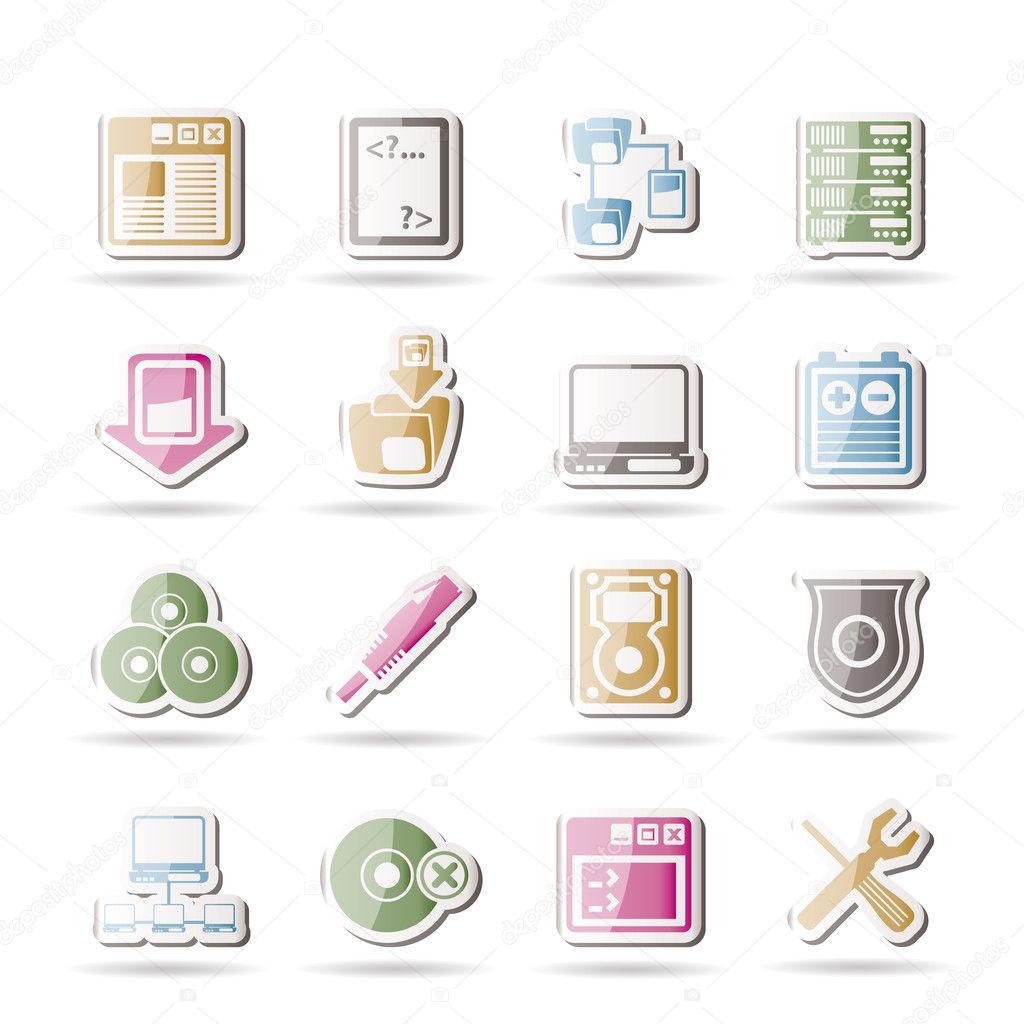 服务器端计算机图标-矢量图标集 — 矢量图片作者 stoyanh
