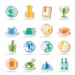 Restaurant, food and drink icons — Stock Vector #5080251