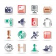 Media and household equipment icons — Stock vektor