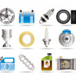 Realistic Car Parts and Services icons - Image vectorielle