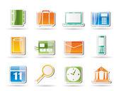 Ikony obchodních, kancelářských a mobilní telefon — Stock vektor