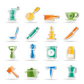 Kitchen and household tools icons — Stock Vector