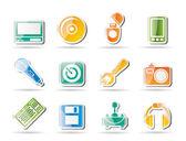 Ícones de equipamento de computador e telefone móvel — Vetor de Stock