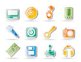 Computer and mobile phone Equipment Icons — Stock Vector