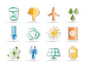 Ecology, energy and nature icons — Stock Vector