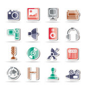 Media and household equipment icons — Stock Vector