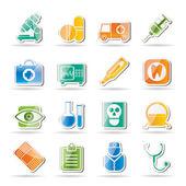Ikony lékařské, nemocnice a zdravotní péče — Stock vektor