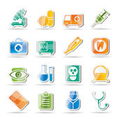 Sjukvård, sjukhus och sjukvård ikoner — Stockvektor
