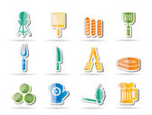 Picnic, barbecue and grill icons — Stock Vector