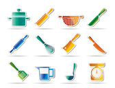Cooking equipment and tools icons — Stock Vector