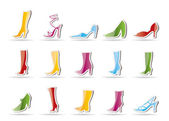 Shoe and boot icons — Stock Vector