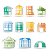 Different kinds of houses and buildings — Stock Vector
