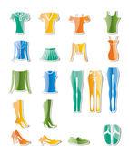 Iconos de ropa de mujer y mujer — Vector de stock