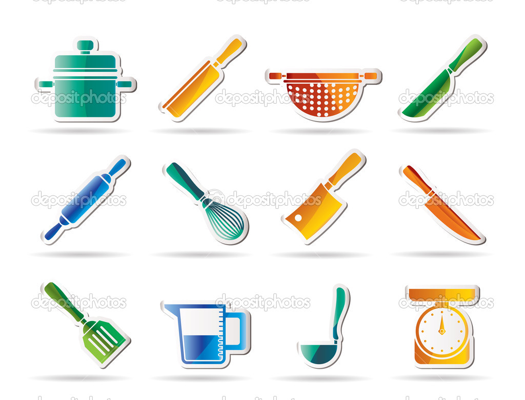 Cooking equipment and tools icons - vector icon set — Stock Vector #5080761