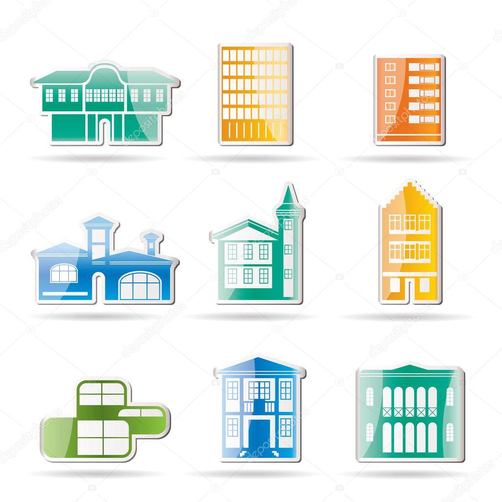 Diversi tipi di case ed edifici vettoriali stock for Tipi di case