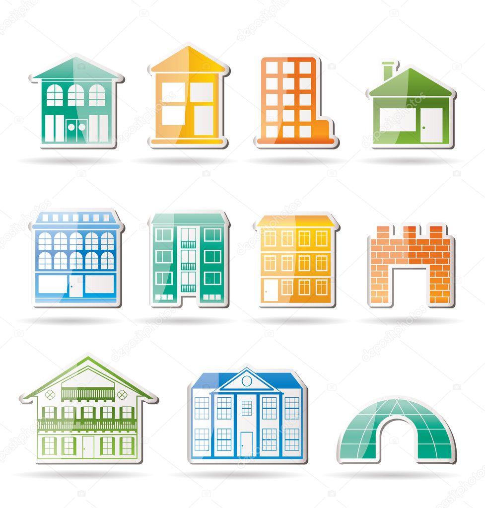 diff rents types de maisons et b timents image vectorielle stoyanh 5080802. Black Bedroom Furniture Sets. Home Design Ideas
