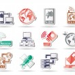 Communication, computer and mobile phone icons - Image vectorielle